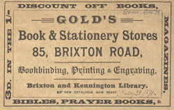 Advert For Gold's Book And Stationery Store, Bookbinder & Printer